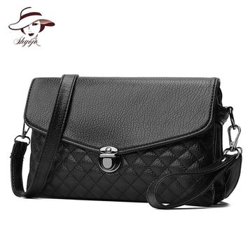 New Luxury Famous Brand Black Clutch Messenger Bag Female Small Simple PU Leather Leisure Square Purse Women Crossbody Handbag