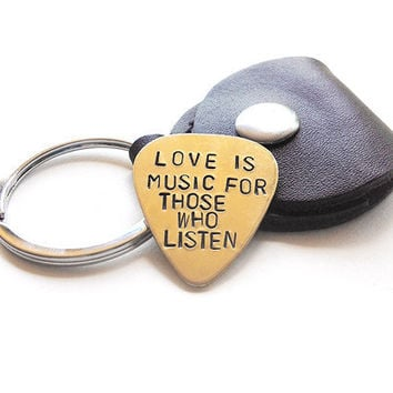 grooms gift guitar pick leather keychain - brass guitar pic - mens gift - love anniversary gift