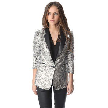 Q2 STORE Silver Blazer with Metallic Sheer and Faux Leather Lapel
