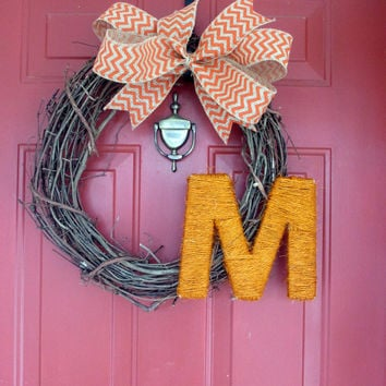 Spring Summer Grapevine Wreath - Monogrammed Grapevine Wreath - Orange Chevron Burlap Bow - Orange Twine Letter - Choose Bow Color