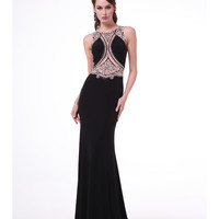 Black Sheer Beaded Bodice Gown 2015 Prom Dresses
