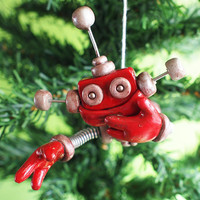 Rustic Red Reba JetPack Girl ROBOT CHRISTMAS ORNAMENT - Clay, Wire