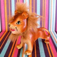 Vintage Kitsch Adorable Lion Figurine With Fur