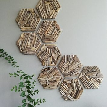 Hexagon wall decor Geometric wall Wood wall tiles 3D wall decoration Wooden honeycomb Unique mosaic Decorative wall sculpture Driftwood art