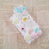 Clear iPhone 4/4s Case Mint Blue and Pink Pastel Kawaii Decoden Phone Case Sweets Deco Bow Music Notes Cabochon Pearls Snap on Case