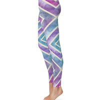Watercolor Geometric Purple & Teal - Leggings in XS-3XL -  Sports or Fleece Fabric Leggins - Yoga, Gym, Thick Winter Gym Yoga 000570