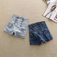 A 073002 Breasted significant lanky waist denim shorts