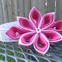 Dog Collar and Flower - READY TO SHIP Light pink and dark Pink  Kanzashi Flower on White Dog Collar - Pink Wedding Collar