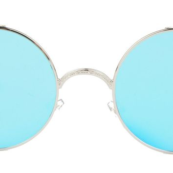 Vivian & Vincent Vintage Hippie Retro Metal Round Circle Frame Sunglasses (Gold Frame Green Mirrored Lens)