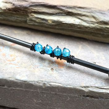 Blue Apatite Industrial Barbell
