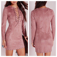 Suede Strap Solid Color Package hip Deep V-Neck Long-Sleeved Dress