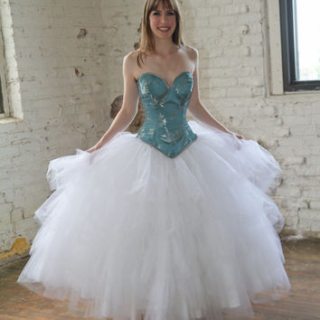 SAMPLE Fairytale Cinderella Wedding Dress- Tulle Ball Gown Blue and White - Corset Top- SMALL