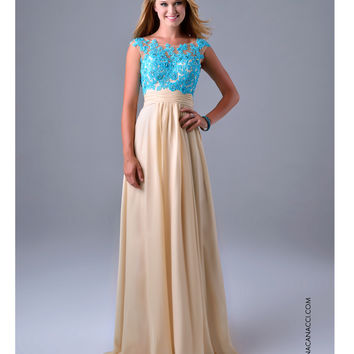 Nina Canacci 1086 Baby Blue & Nude Cap Sleeve Gown 2015 Prom Dresses