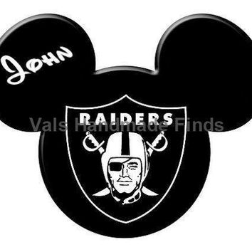 Oakland Raiders Mickey Mouse Head Disney World Personalized w/ Name/Date Printable Iron On Transfer DIY Instant Download