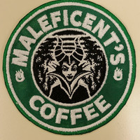 Villain Coffee Spoof Embroidered Patch,  Maleficent Spoof Coffee Patch, Wicked Queen Coffee Patch, Iron On Fanwear