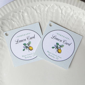 Tags for Limoncello, Lemon Curd Labels, or Lemon Products, Personalized Wedding Favor Tags - Set of 20