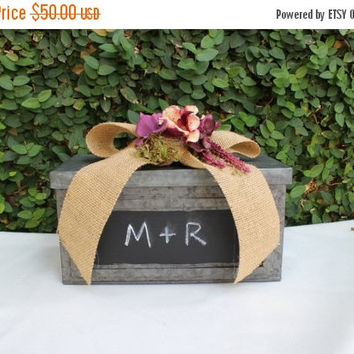 ON SALE Wedding  Advice Card box Cardholder / Wooden Hinged Cardholder Box / Chalkboard Rustic Wedding Decor