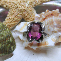 Sterling Silver Vintage Purple Stone Ring 3.05g Size 5.5