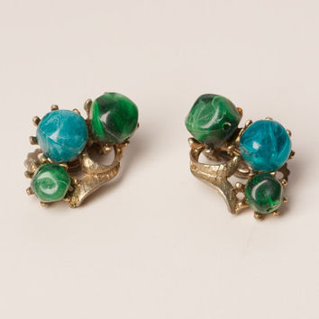 Vintage Green and Blue Lucite Clip Earrings