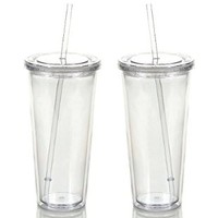 Reusable Double Wall Insulated Acrylic Tumbler Cups with Straw and Lid, 2 Set Package (24 Oz, Clear Straws)