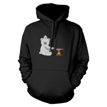 Polar Bear Grilling Fish Hoodie Winter Sweatshirt For Dog Lovers