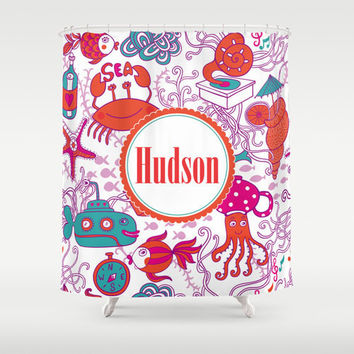 Colorful Underwater Scene, Submarine, Jellyfish  Personalized Shower Curtain