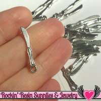 Antique Silver Tiny Knives Charms 20 pieces 25x4mm