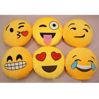 For iPhone Smiley Emoticon Round Yellow Hold Pillow Stuffed Plush Soft Toy
