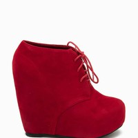 Camilla-1 Fx Suede Lace Up Wedge Boot