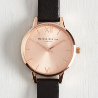 Menswear Inspired Undisputed Class Watch in Rose Gold, Black - Petite by Olivia Burton from ModCloth