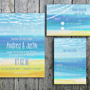 Beach Wedding Invitation Suite with Lights, Seashells, and Ocean - Printable Wedding Invitation, RSVP and Guest Information Card