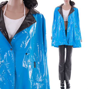 PVC Members Only Raincoat Bright Blue Black Plastic Rain Jacket Slicker Unisex Vintage Clothing Club Kid Hipster Mens Large Womens XL