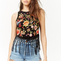Faux Suede Embroidered Fringe Top
