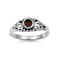 Sterling Silver Red Garnet CZ Ring Size 1-5