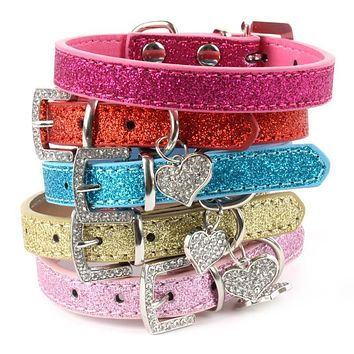 Hot Bling Crystal Pendant Leather Pet Dog Collars Puppy Cat Choker Necklaces Hot