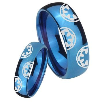 His Hers Mirror Blue Dome Star Wars & Galactic Empire Tungsten Carbide Wedding Rings Set