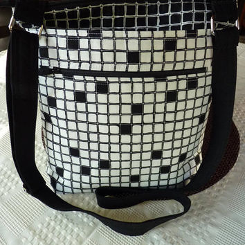 Handcrafted Black and White Cross Body Shoulder Bag/Sling Bag/Purse with Outside Pockets and Adjustable Strap