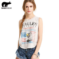 Women 2016 Summer American Flag Print Sleeveless T-Shirt Casual Tees Tops Side Seam Blouse Tanks Vest T Shirts WAIBO BEAR