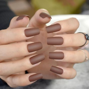 24pcs Pure Candy Color Matte Nails Kit - Chocolate Brown