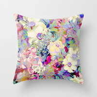 summery floral Throw Pillow by Clemm
