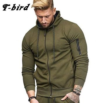 T-Bird 2018 New Cardigan Hoodies Men Fashion Drawstring Solid Color Sweatshirt Men'S Hip Hop Autumn Hoodie Zipper Male Tracksuit