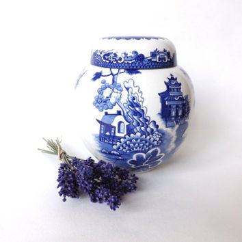 Willow Pattern Tea Caddy, Blue & White Ginger Jar, Vintage Tea Holder, Kitchen Jar, Storage Canister, Royal Cauldon Ironstone, Female Gift
