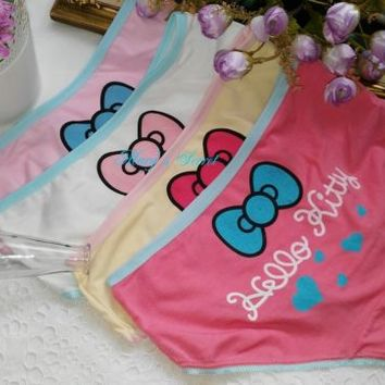 Lot 1 3 6 12pcs Women Underwear Hello Kitty W. Bow Cotton Stretch Panties Briefs