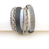 Black leather 2X wrap bracelet with silver plated wire mesh and 2 different nickel chains