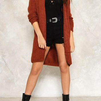 Orange Irregular Oversize Long Sleeve Casual Cardigan Sweater