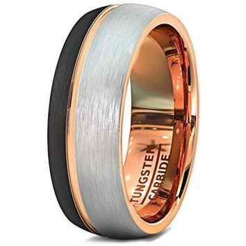 Black and White Tungsten Wedding Ring Brushed  With Thin Side Rose Gold Groove and Dome Edge - 8mm
