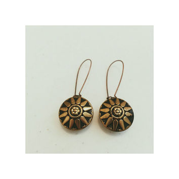 Sharmin vintage button earrings- sunburst sunflower sun vintage button earrings