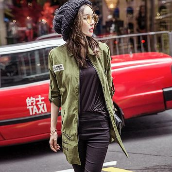 2016 Women's Autumn Stand Collar Simple Long Jacket  Windbreaker Bomber Jacket Casual Sweater Outerwear