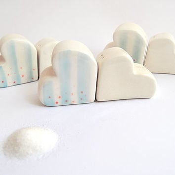 Ceramic Salt and Pepper Shakers, Cloud and Heart Shaped, Decorated with Blue Stripes and Red Polka Dots. Ready To Ship