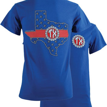 SALE Southern Couture Texas Preppy Monogram State Girlie Bright T Shirt